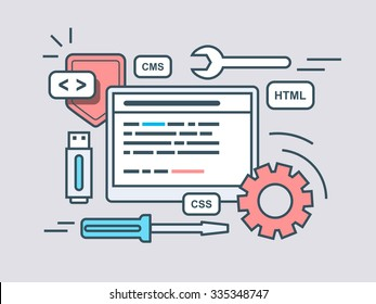 Web programming script. Code program, script html, coding algorithm. Flat vector illustration