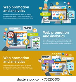 Web promotion and analytics of information. Set of banners in a flat style. Internet commerce, social networks, marketing and research. Statistics, audit and analysis. Infographics elements and icons.