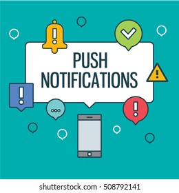 Web push notifications for your website with elements linear icons laptop. Banners. Modern vector design element on white background, flat outline design.