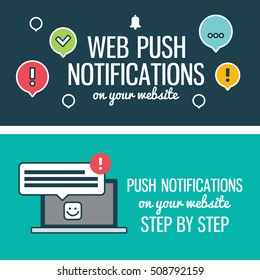 Web push notifications for your website with elements linear icons laptop. Banners.Modern vector design element on white background, flat outline design.