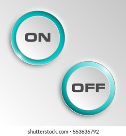 web round button on & off positions for website or app. Isolated bell sign with border, reflection and shadow on background. Vector eps10.