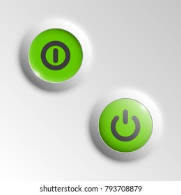 web round button on and off mark patch of reflected light for website or app. Isolated bell button sign with border, reflection and shadow on background. Vector button inclusion mark eps10.