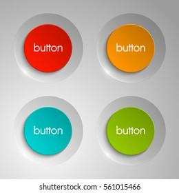 web round button for website or app. Isolated bell sign with border, reflection and shadow on background. Vector eps10.