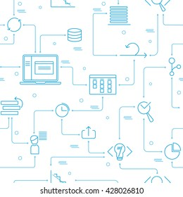 Web seamless pattern and background with light blue scrum agile outline icons
