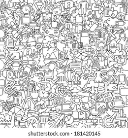 Web seamless pattern in black and white (repeated) with mini doodle drawings (icons). Illustration is in eps8 vector mode.