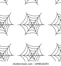 Web seamless vector pattern on white black orange background. Halloween texture.
