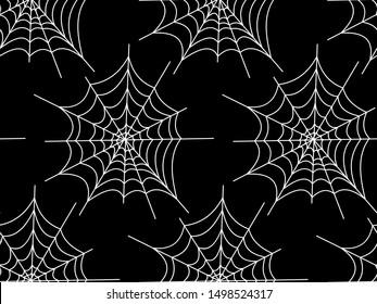 Web seamless vector pattern on white black orange background. Halloween texture.