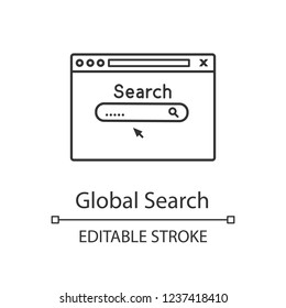Web search engine linear icons. Global search system. Thin line illustration. Web browser page. Internet surfing. Global solutions. Contour symbol. Vector isolated outline drawing. Editable stroke