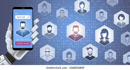 Web Search For People By Robot. Vector illustration on the subject of 'Social Media'.