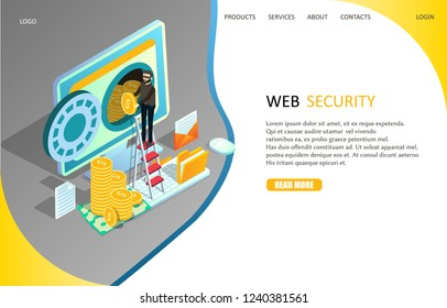 Web security landing page website template. Vector isometric illustration of cyber thief hacker stealing money from computer. Internet security, data protection concept.