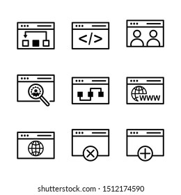 Web and seo icon set include link, data, web, seo, code, development, people, user, search, list, connection, browsing, world, create, cross, plush, add