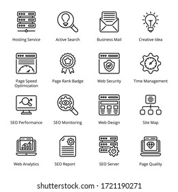Web and SEO outline Icons - stroke, vector