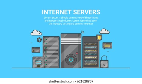 Web servers, web hosting service, internet connection, cloud servers with security icons flat line vector banner