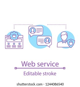 Web service concept icon. User technical support idea thin line illustration. Customer service. Client assistance. Web browser settings and options. Vector isolated outline drawing. Editable stroke