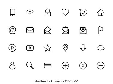 Web Set of Interface Vector Line Icons. Contains icons such as Smartphone, Wi-Fi, Lock, Heart, Airplane, House, Mail, Flag, Map, Star, Cloud, User and more. Editable Stroke. 16x16 Pixel Perfect