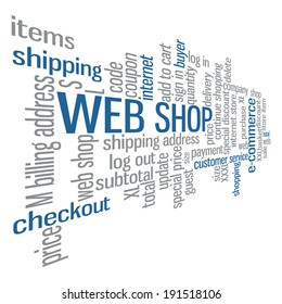 Web shop word cloud tag concept in vector on white background