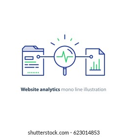 Web site analytics cervices, data processing concept, vector mono line icons