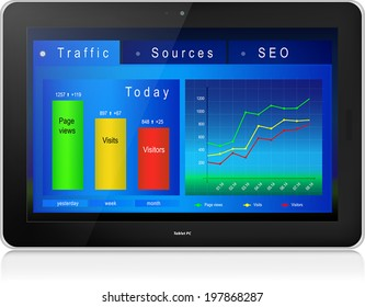 Web site analytics charts on screen of black laptop PC. Reflection. Vector illustration, isolated on white background.