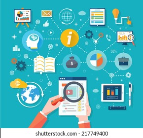 Web site analytics charts on screen of PC. SEO Search Engine Optimization programming business up trend statistics flat design style. Link between information system strategy and business strategy