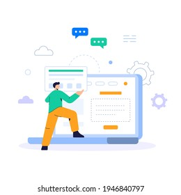 Web site department Programmers and art department create a company website to promote the company's activities. And the storefront system for selling the company's products flat illustration vector