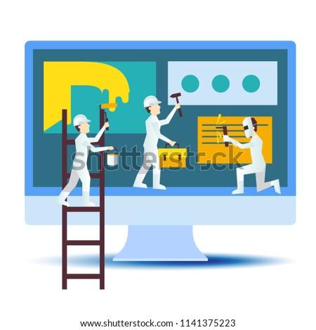 Web Site Design Development Process Specialists Stock Vector