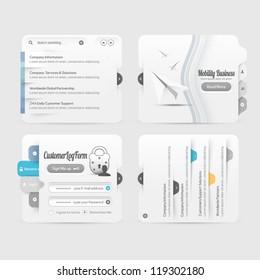 Web site design menu navigation elements with icons set