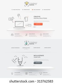 Web site design template navigation elements: Set of two front pages of website with personal company concept logo and icons