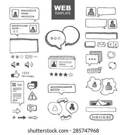web site ellements sketch. web chat dialogs menu