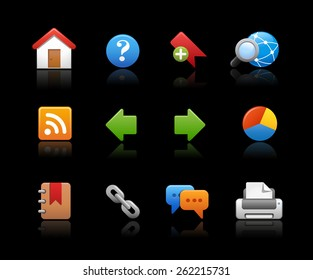 Web Site Icons  // Black Background -- EPS 10 -Background color and shadows are editable and can be easily changed.