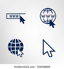 Web site icons set. Website start page. WWW. Internet browser bar, globe, computer mouse arrow. Flat design, creative solution. Vector isolated.
