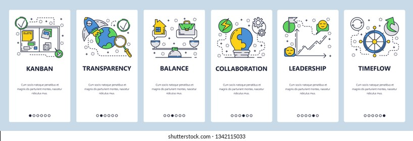 Web site onboarding screens. Business management, home work balance and collaboration. Menu vector banner template for website and mobile app development. Modern design flat illustration
