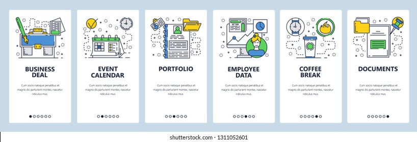 Web site onboarding screens. Bussiness and office icons set. Menu vector banner template for website and mobile app development. Modern design linear art flat illustration