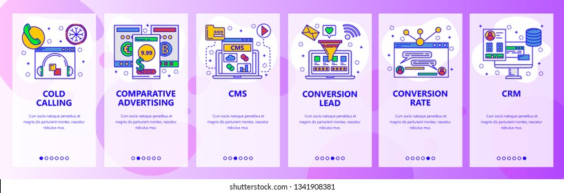 Web site onboarding screens. Call center, CMS, CRM systems. Menu vector banner template for website and mobile app development. Modern design flat illustration
