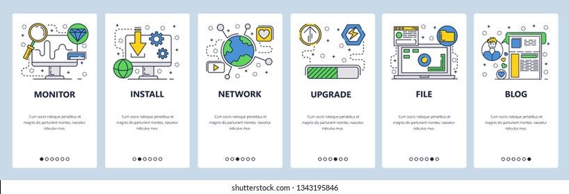Web site onboarding screens. Computer software download, install and upgrade. Menu vector banner template for website and mobile app development. Modern design flat illustration