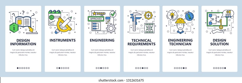 Web site onboarding screens. Construction, measurements and drawing tools. Menu vector banner template for website and mobile app development. Modern design linear art flat illustration