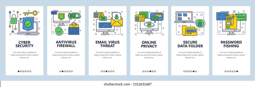 Web site onboarding screens. Cyber security, antivirus and firewall protection, secure access, privacy, password. Menu vector banner template for website and mobile app development. Illustration