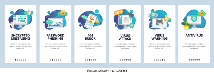 Web site onboarding screens. Cyber security, virus attack and phishing. Antivirus and encrypted messaging. Menu vector banner template for website and mobile app development. Design flat illustration