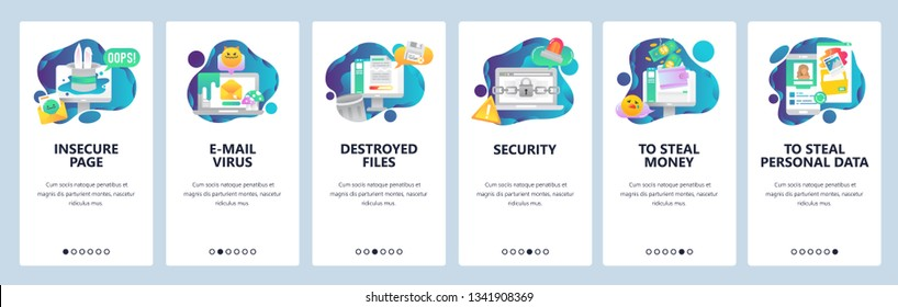 Web site onboarding screens. Cyber security and hacker attack. Email virus and stealing of personal data. Menu vector banner template for website and mobile app development. Design flat illustration