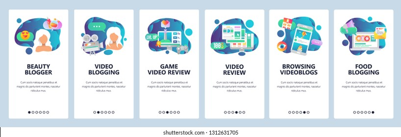 Web site onboarding screens. Fashion celebrity blogger, game live streaming, video blog. Menu vector banner template for website and mobile app development. Modern design linear art flat illustration
