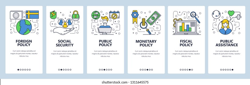 Web site onboarding screens. Government office policy and ministry. Menu vector banner template for website and mobile app development. Modern design linear art flat illustration