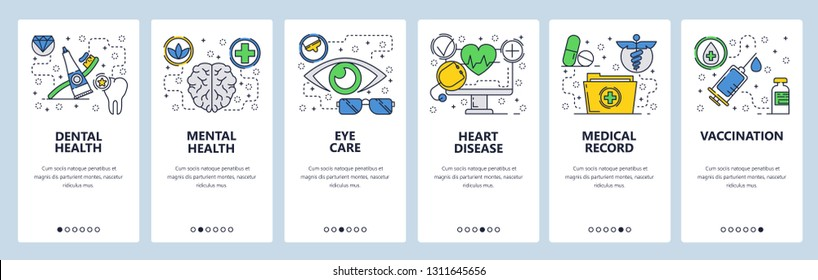 Web site onboarding screens. Medical checkup and body health, vaccination and medical records. Menu vector banner template for website and mobile app development. Design linear art flat illustration