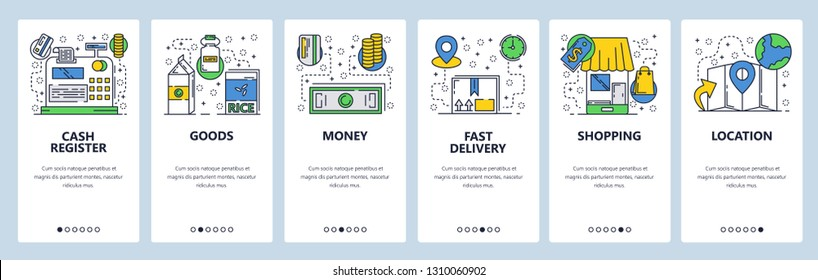 Web site onboarding screens. Online shopping and money payment. Menu vector banner template for website and mobile app development. Modern design linear art flat illustration