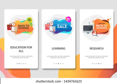 Web site onboarding screens. Online education. Digital internet tutorials and courses. Menu vector banner template for website and mobile app development. Modern design flat illustration
