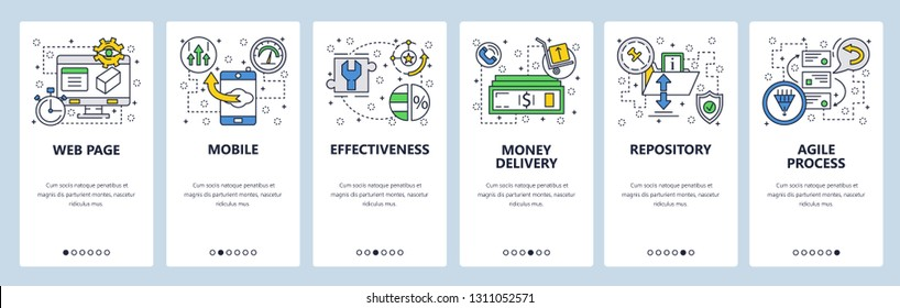 Web site onboarding screens. Repository, agile process . Menu vector banner template for website and mobile app development. Modern design linear art flat illustration