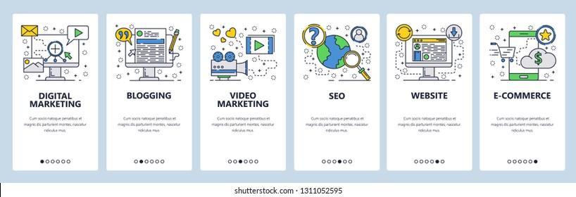 Web site onboarding screens. SEO, digital marketing, online shopping, video. Menu vector banner template for website and mobile app development. Modern design linear art flat illustration