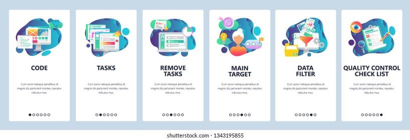 Web site onboarding screens. Task management, quality control and data filtering. Menu vector banner template for website and mobile app development. Modern design flat illustration