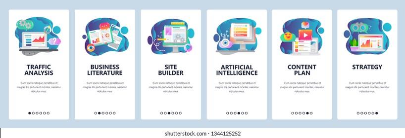 Web site onboarding screens. Traffic analysis, AI, business development and website coding. Menu vector banner template for website and mobile app development. Modern design flat illustration