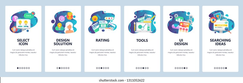 Web site onboarding screens. UI and UX design solutions, rating review, search, drawing tools. Menu vector banner template for website and mobile app development. Design linear art flat illustration