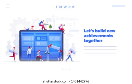 Web site page design template. Vector illustration people are working together on large screen and building a new achievements. Business teamwork concept.