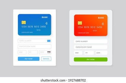 Web Site or Phone app page with payment details ui design. UI, UX template for mobile application vector design. Online purchuse with credit card.